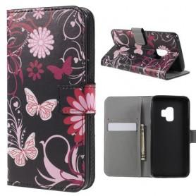 Samsung Galaxy S9 kukkia ja perhosia suojakotelo