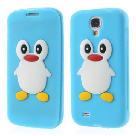 Galaxy S4 vaaleansininen kannellinen pingviini silikonisuojus.
