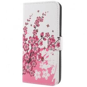 Samsung Galaxy S9 vaaleanpunainen kukkia ja perhosia suojakotelo