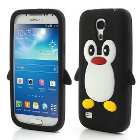 Galaxy S4 Mini musta pingviini silikonisuojus.