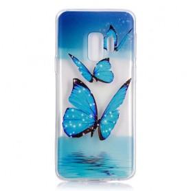 Samsung Galaxy S9 siniset perhoset suojakuori