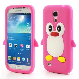 Galaxy S4 Mini hot pink pingviini silikonisuojus.