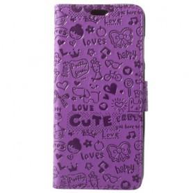 Huawei Honor 9 Lite kuvioitu violetti suojakotelo