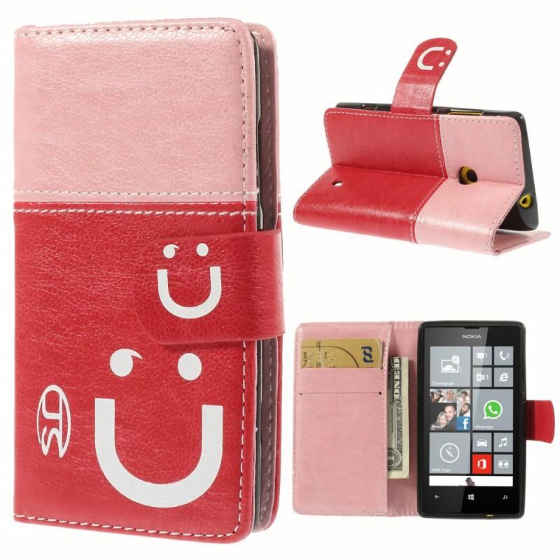 Lumia 520 vaaleanpunainen hymy lompakkokotelo.
