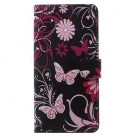 OnePlus 5T kukkia ja perhosia suojakotelo