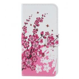 Huawei Honor 9 Lite vaaleanpunaiset kukat suojakotelo