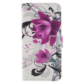 Huawei Honor 9 Lite violetit kukat suojakotelo