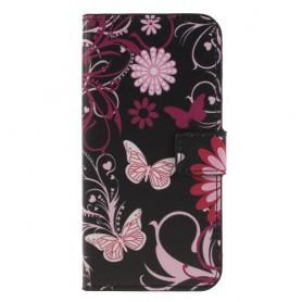 Huawei Honor 9 Lite kukkia ja perhosia suojakotelo