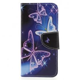 Huawei Honor 9 Lite violetit perhoset suojakotelo