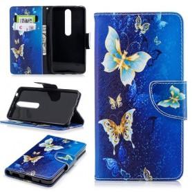 Nokia 6 2018 sininen perhoset suojakotelo