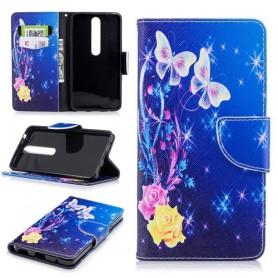 Nokia 6 2018 ruusut ja perhoset suojakotelo