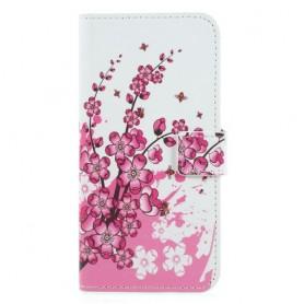 Huawei P Smart vaaleanpunaiset kukat suojakotelo