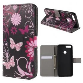 Huawei P Smart kukkia ja perhosia suojakotelo