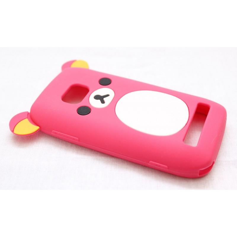 Lumia 710 pinkki nalle silikoni suojakuori.