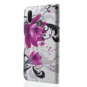 Huawei P20 Lite violetit kukat suojakotelo