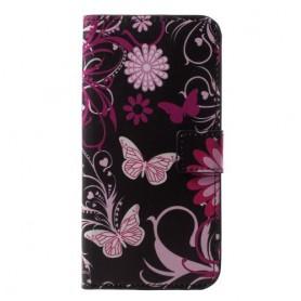 Huawei P20 Lite kukkia ja perhosia suojakotelo