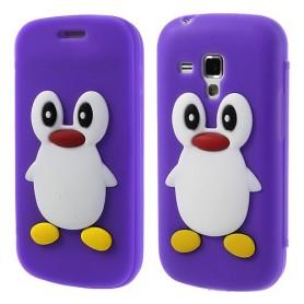 Galaxy Trend violetti kannellinen pingviini silikonisuojus.