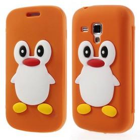 Galaxy Trend oranssi kannellinen pingviini silikonisuojus.