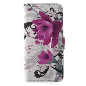 Huawei Honor 10 violetit kukat suojakotelo
