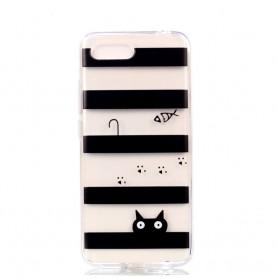 Huawei Honor 10 läpinäkyvä kissa suojakuori.