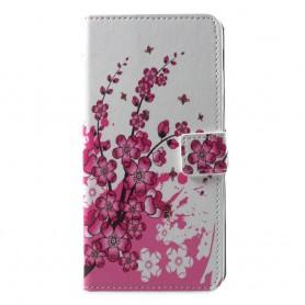 Samsung Galaxy A6 2018 vaaleanpunaiset kukat suojakotelo