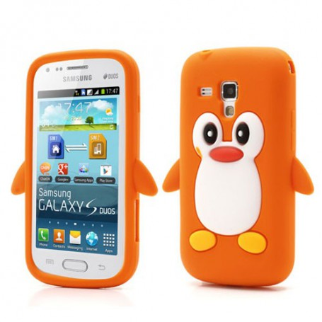 Galaxy Trend oranssi pingviini silikonisuojus.