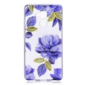 Huawei Honor 7 Lite läpinäkyvä violetit kukat suojakuori.