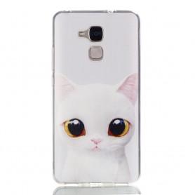 Huawei Honor 7 Lite valkoinen kissa suojakuori.