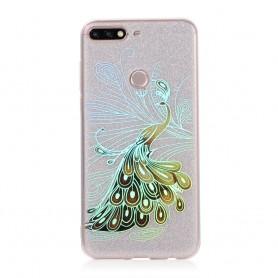 Huawei Y6 2018 hopea glitter riikinkukko suojakuori.