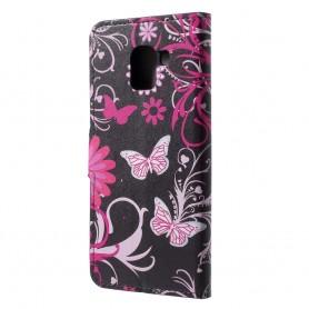 Samsung Galaxy J6 2018 kukkia ja perhosia suojakotelo