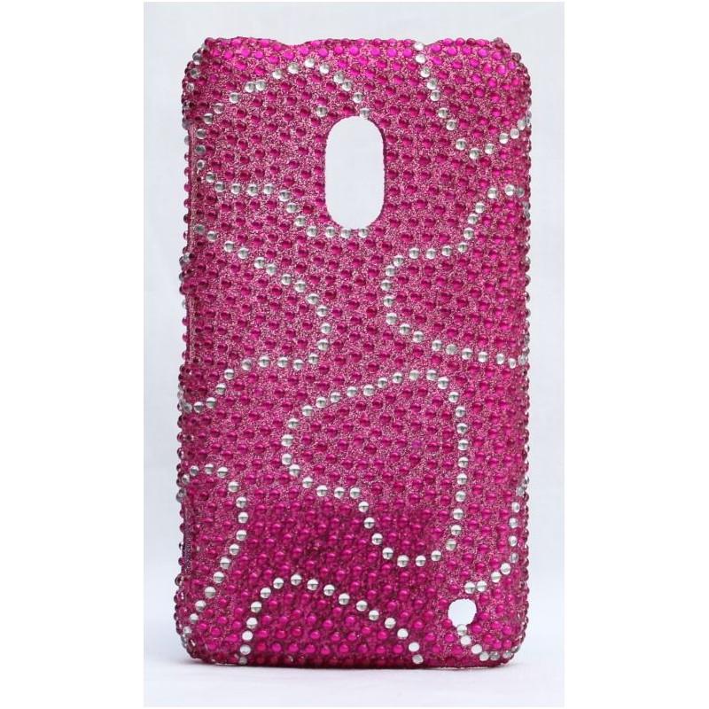 Lumia 620 bling suojakuori hot pink sydämet.