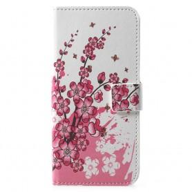 Huawei Y6 2018 vaaleanpunaiset kukat suojakotelo