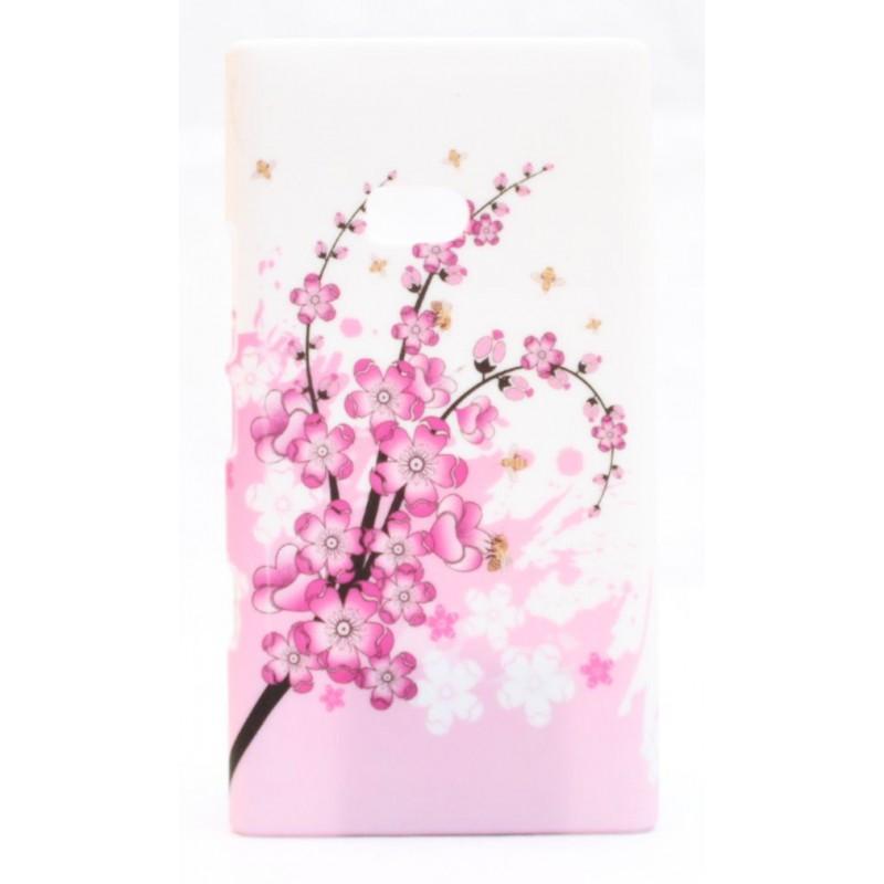 Lumia 900 suojakuori vaaleanpunainen kukka.
