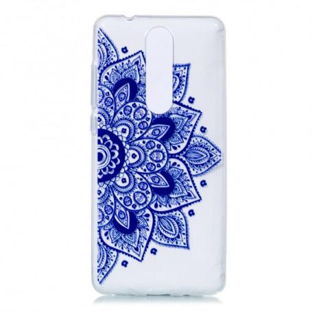 Nokia 5.1 (2018) läpinäkyvä sininen kukka suojakuori.