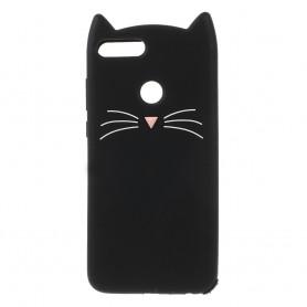 Huawei P Smart 3D musta kissa suojakuori.