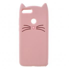 Huawei P Smart 3D vaaleanpunainen kissa suojakuori.