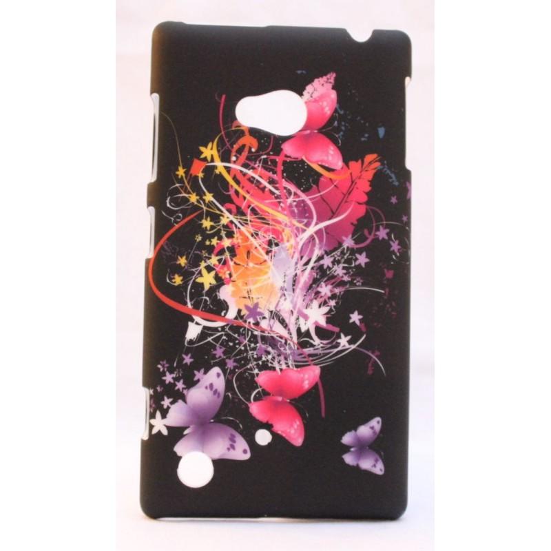 Nokia Lumia 720 kova suojakuori musta perhosia.