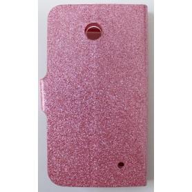 Lumia 630 vaaleanpunainen glitter puhelinlompakko