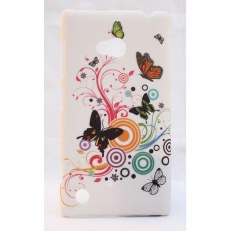 Nokia Lumia 720 kova suojakuori valkoinen perhosia.