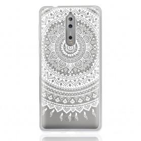 Nokia 8 läpinäkyvä valkoinen mandala suojakuori.