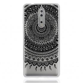 Nokia 8 läpinäkyvä musta mandala suojakuori.