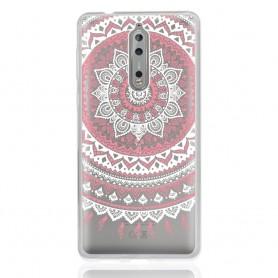 Nokia 8 läpinäkyvä vaaleanpunainen mandala suojakuori.