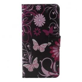 Huawei Honor Play kukkia ja perhosia suojakotelo