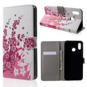 Huawei Honor Play vaaleanpunaiset kukat suojakotelo