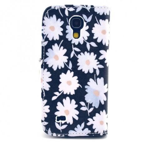 Galaxy S4 Mini valkoiset kukat lompakkokotelo
