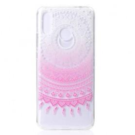 Huawei Nova 3 läpinäkyvä vaaleanpunainen mandala suojakuori.