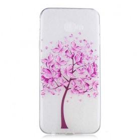 Samsung Galaxy J4 Plus läpinäkyvä puu suojakuori