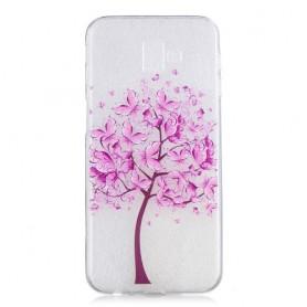 Samsung Galaxy J6 Plus läpinäkyvä puu suojakuori