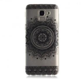 Samsung Galaxy J6 2018 läpinäkyvä musta mandala suojakuori.