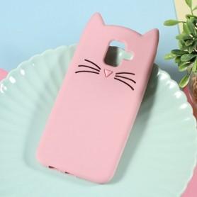 Samsung Galaxy A6 2018 vaaleanpunainen kissa silikonikuori.